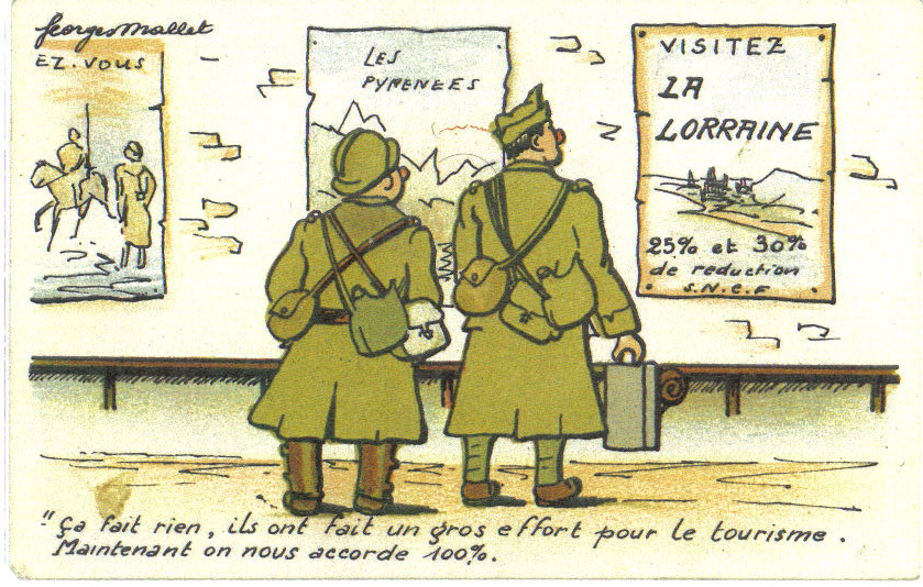 A Cartoon Postcard from France 1939